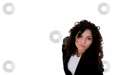 Look stock photo, Young woman in black dress in a white background by Rui Vale de Sousa