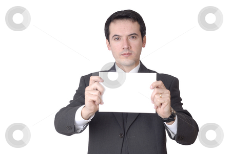 Empty white card stock photo, Business man with an empty white card by Rui Vale de Sousa