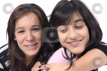 Girls stock photo, Two young casual girls portrait in studio by Rui Vale de Sousa
