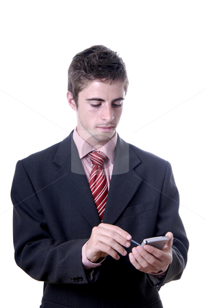 Working stock photo, Young business man working with a pda by Rui Vale de Sousa