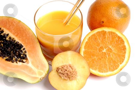 Juicy stock photo, A glass of orange juice with cut oranges by Rui Vale de Sousa