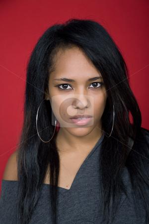 Girl stock photo, Young casual woman close up portrait, studio shot by Rui Vale de Sousa