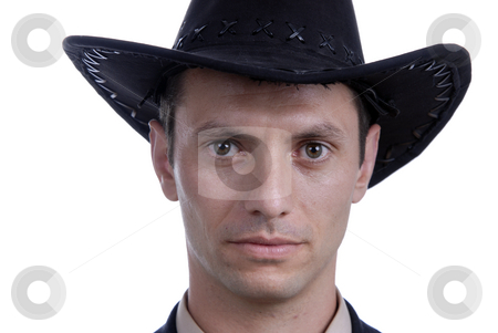 Cowboy stock photo, Young business men with cowboy hat portrait by Rui Vale de Sousa