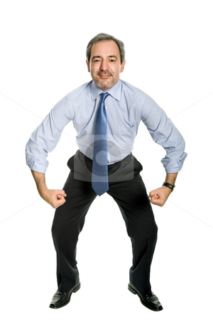 Strong stock photo, Mature business man with silly attitude, full body by Rui Vale de Sousa