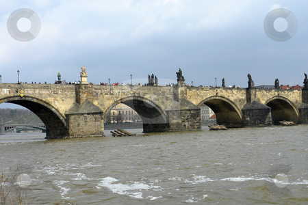 Prague stock photo, Ancient charles bridge in the city of prague by Rui Vale de Sousa