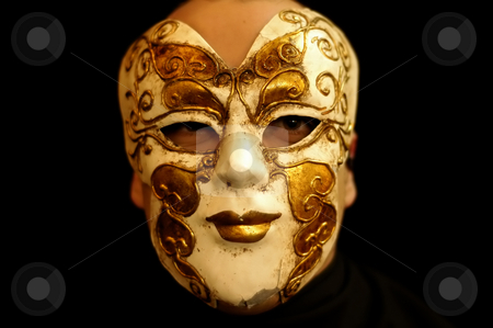 Mask stock photo, Man with a venice mask in a dark place by Rui Vale de Sousa