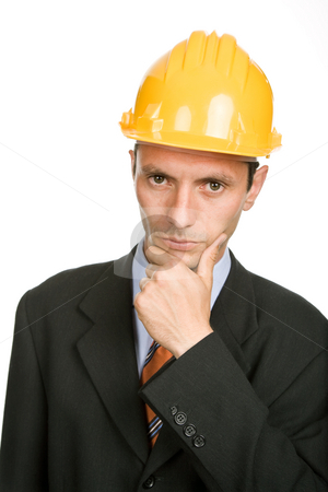Thinking stock photo, An engineer with yellow hat, isolated on white by Rui Vale de Sousa
