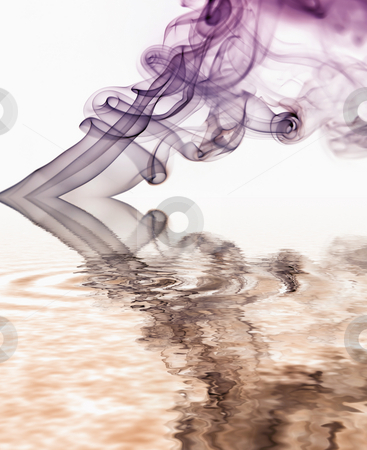 Blue smoke stock photo, Blue smoke abstract in white background with reflection by Rui Vale de Sousa