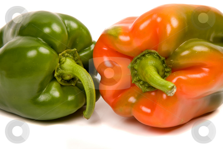Peppers stock photo, Red and green peppers isolated on white by Rui Vale de Sousa