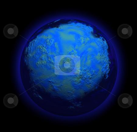 Planet stock photo, Illustration of a strange planet in black sky by Rui Vale de Sousa