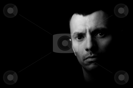 Young man stock photo, Young man close up portrait, on black background by Rui Vale de Sousa