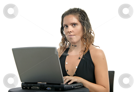 Working stock photo, Young casual woman working with her laptop by Rui Vale de Sousa