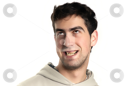 Silly stock photo, Young caucasian man silly in a white background by Rui Vale de Sousa