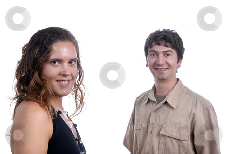 Happy stock photo, Young couple together portrait isolated on white by Rui Vale de Sousa