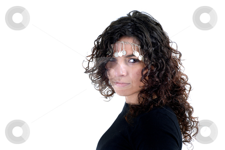 Girl stock photo, Young woman close up portrait in white background by Rui Vale de Sousa