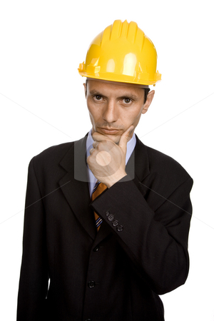 Pensive stock photo, An engineer with yellow hat, isolated on white by Rui Vale de Sousa