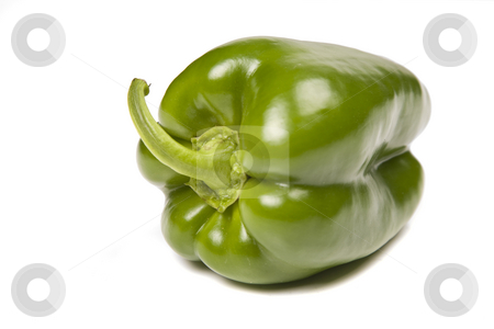 Pepper stock photo, A green pepper isolated on white background by Rui Vale de Sousa