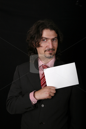 Empty card stock photo, Young business man with an empty card by Rui Vale de Sousa