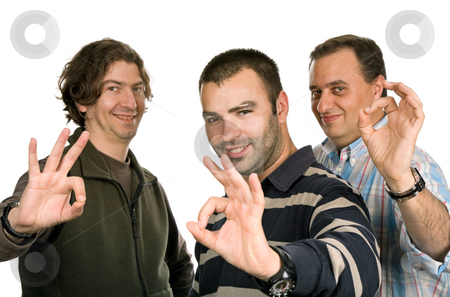 Happy stock photo, Three casual man isolated on white background by Rui Vale de Sousa