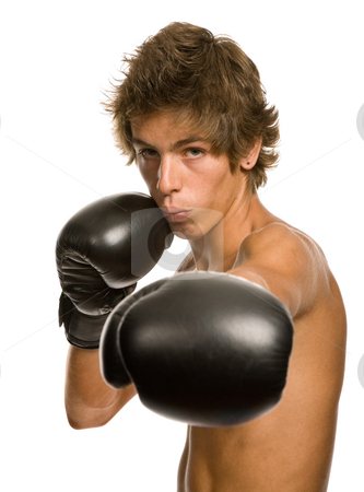 Boxer stock photo, Young man with boxing gloves, isolated on white by Rui Vale de Sousa