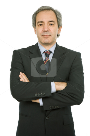 Business man stock photo, Mature business man portrait in white background by Rui Vale de Sousa