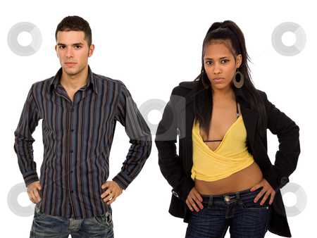 Couple stock photo, Young fashion couple isolated on white background by Rui Vale de Sousa