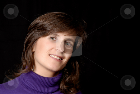 Woman stock photo, Young woman portrait isolated on black background by Rui Vale de Sousa