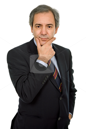 Pensive stock photo, Mature business man portrait in white background by Rui Vale de Sousa