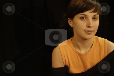 Girl on black stock photo, Young beautiful woman posing in a black background by Rui Vale de Sousa