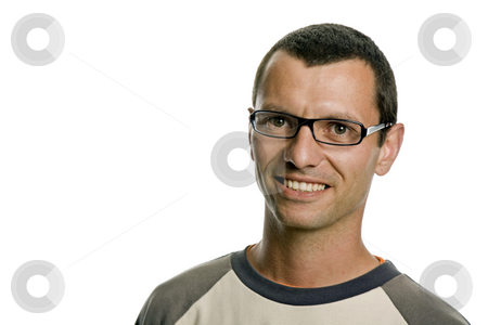 Happy stock photo, Young casual man portrait, isolated on white by Rui Vale de Sousa