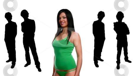 Sensual stock photo, Young beautiful woman portrait with some men in silhouette by Rui Vale de Sousa