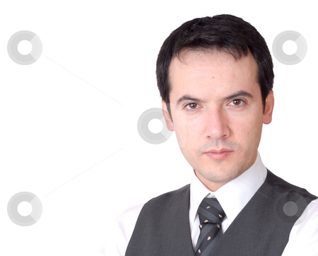 Attitude stock photo, Young business man portrait, isolated on white by Rui Vale de Sousa