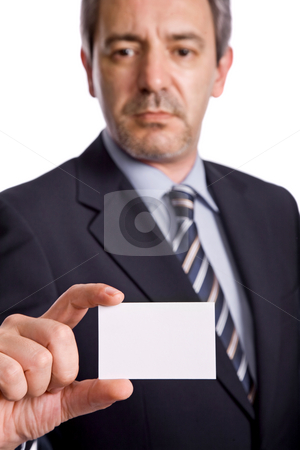 Card stock photo, Businessman offering business card, focus on the hand by Rui Vale de Sousa