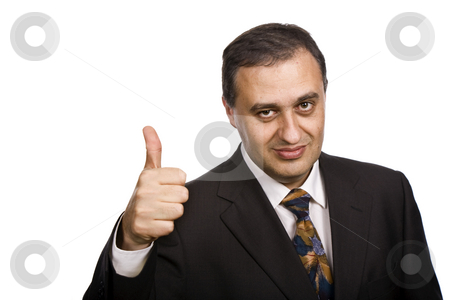 Thumbs up stock photo, Business man going thumbs up, isolated on white by Rui Vale de Sousa