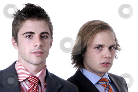 Young stock photo, Two young business men portrait on white. focus on the man of the left by Rui Vale de Sousa
