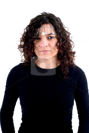 Woman stock photo, Young woman close up portrait in white background by Rui Vale de Sousa