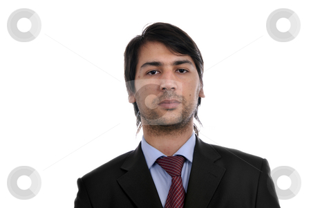 Thoughtful stock photo, Young business men portrait isolated on white by Rui Vale de Sousa