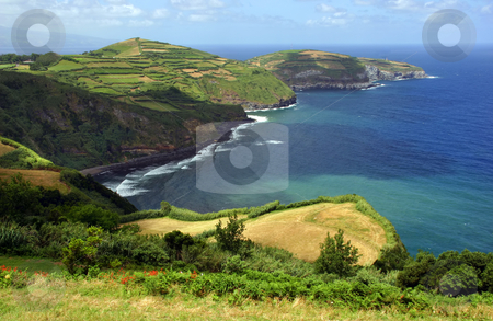 Coast stock photo, Azores coastal fields at sao miguel island by Rui Vale de Sousa