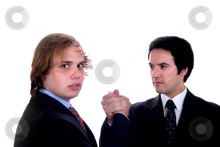 Handshake stock photo, Two young business men portrait on white by Rui Vale de Sousa