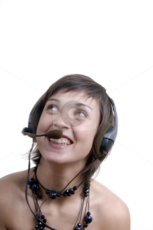 Answering stock photo, Woman secretary with hands free set answering a call by Rui Vale de Sousa