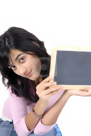 Blackboard stock photo, Young girl with a blackboard in a white background by Rui Vale de Sousa