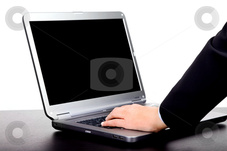 Working stock photo, Woman hand working with computer isolated on white by Rui Vale de Sousa