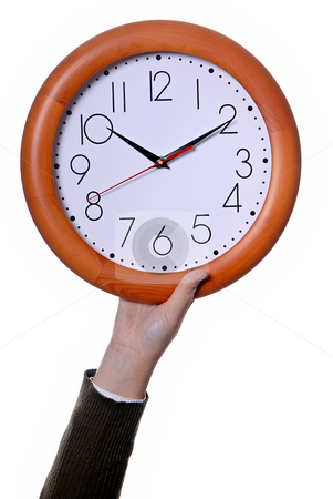 Clock stock photo, Woman with a clock isolated in white background by Rui Vale de Sousa