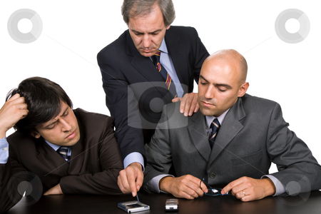 Workers stock photo, Group of workers on a meeting, isolated on white by Rui Vale de Sousa