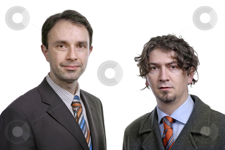 Business men stock photo, Two young business men portrait on white by Rui Vale de Sousa