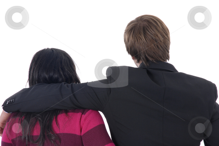 Holding stock photo, Man and woman together in a white background by Rui Vale de Sousa