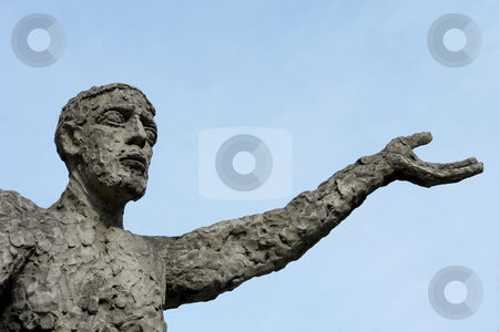 Statue stock photo, Textured male statue in prague with the sky as background by Rui Vale de Sousa