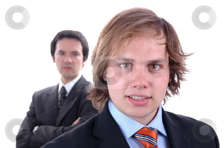 Businessmen stock photo, Two young business men portrait on white. focus on the right man by Rui Vale de Sousa
