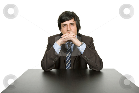 Worried stock photo, Young worried business man, on a desk by Rui Vale de Sousa