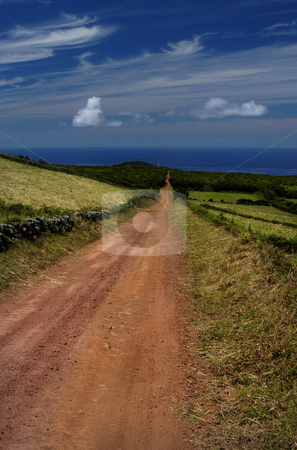 Azores stock photo, Big red road in azores island of sao jorge by Rui Vale de Sousa